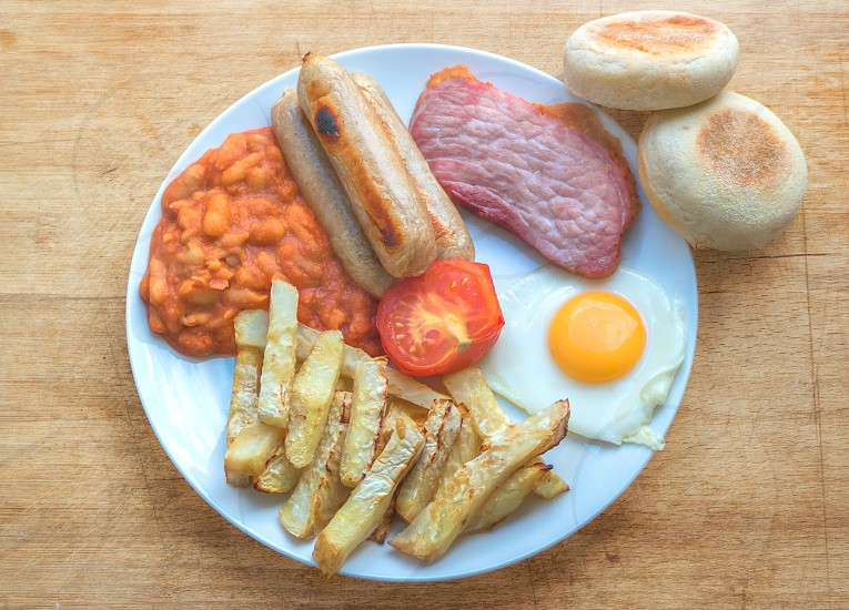 Chip Baked Beans Sausages Gammon Steak Grilled Tomato Fried Egg & English Muffins - The Full English Breakfast photo