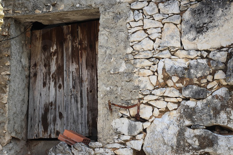 Doorway in a rustic stone house photo