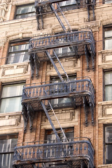 Stairs Old Fire escape ladder Building Facade photo