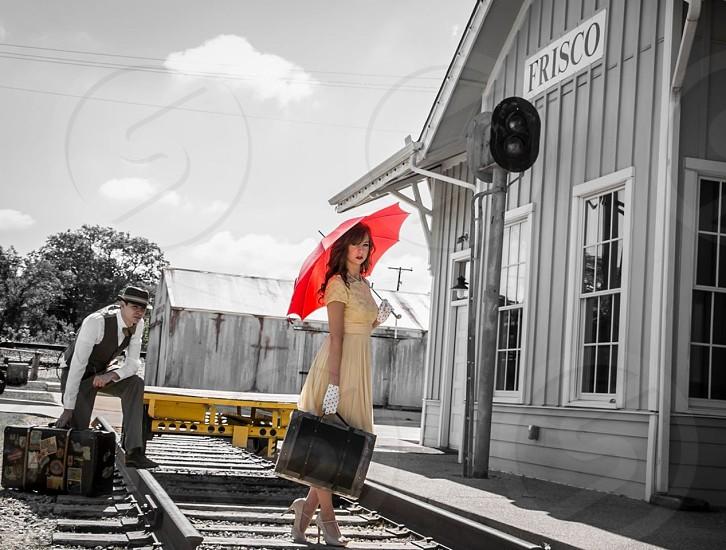 50s umbrella railroad dress travel photo