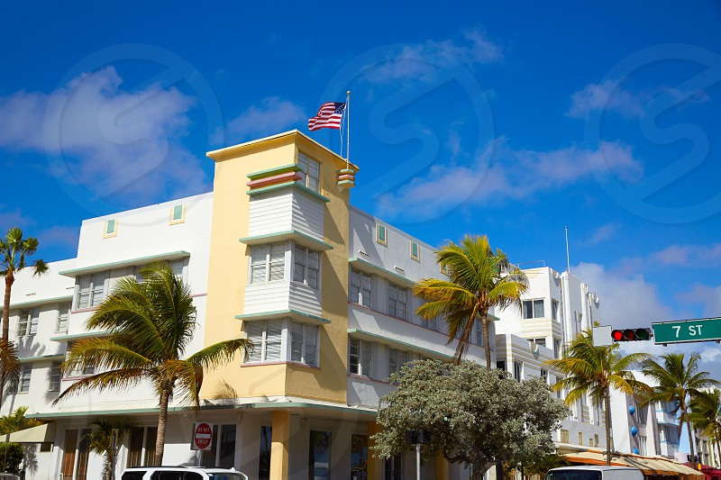 Miami Beach Ocean boulevard Art Deco district in florida USA photo