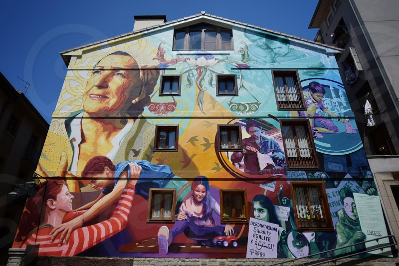mural painting painted on 4-storey house photo