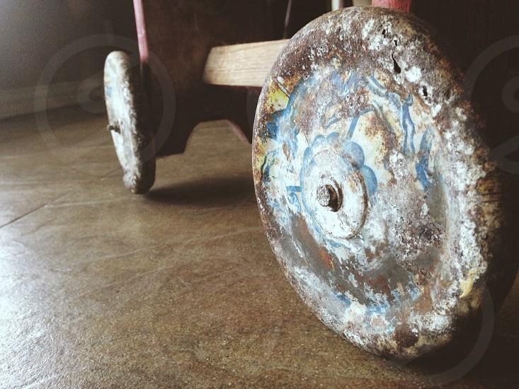 clay wheels on cart photo