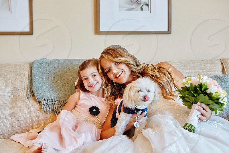 Wedding flower girl bride flower dog dog wedding family love happy sweet smiles sweet smiles silly girls bridal suite the day wedding day photo