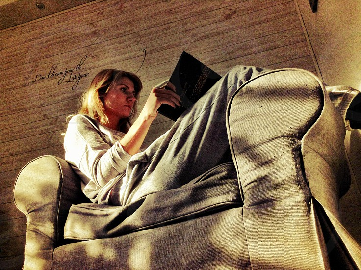 Relaxing woman reading photo