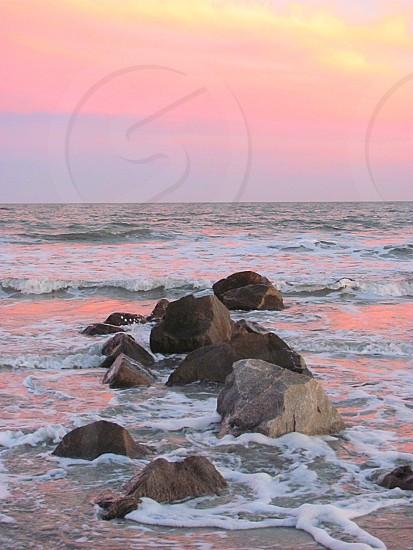 Cotton candy sunsets on Folly Beach South Carolina.  photo