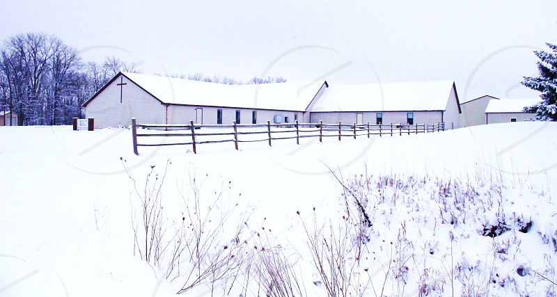 Country church in snow photo