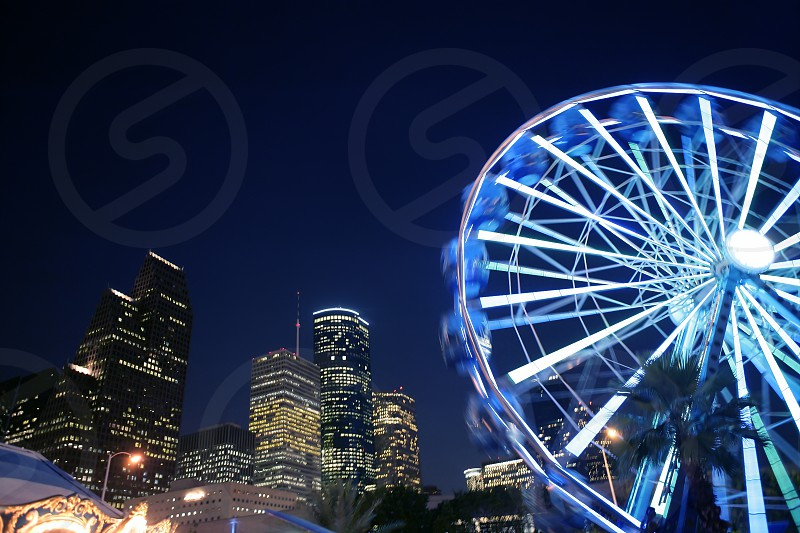 Ferris wheel at the fair night lights in Houston Texas photo