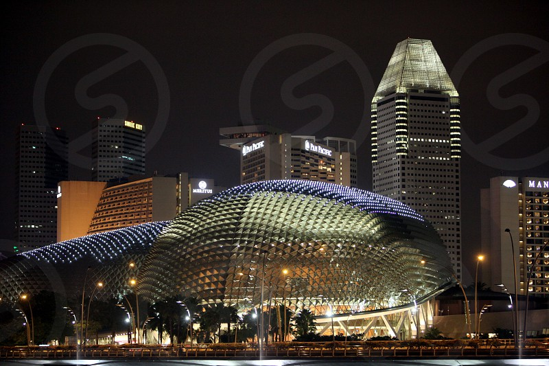 the Esplanade und Theater at the Marina Bay at the Singapore River and Marina Bay in the city of Singapore in Southeastasia. photo
