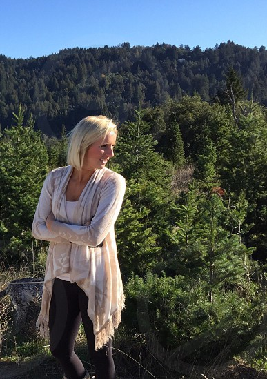 Look captivating intense gazing natural light forest attention nature female photo