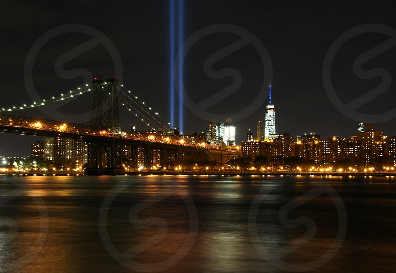 nyc skyline nyc freedom tower twin towers wtc tribute in light september 11 9/11 memorial bridge brooklyn williamsburg waterfront east river new york city at night photo