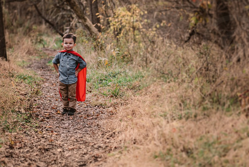 Autumn colors and an ornery little Superman photo