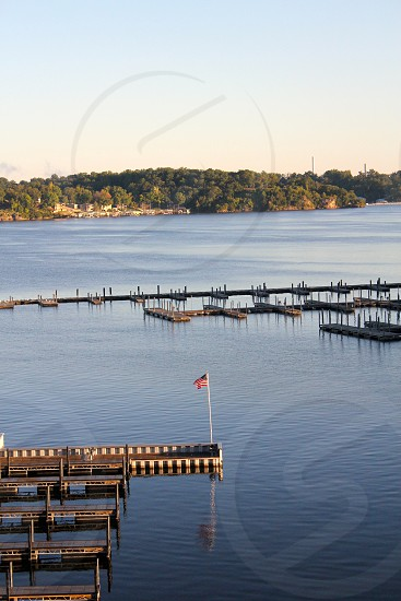 Lake boat dock American flag photo