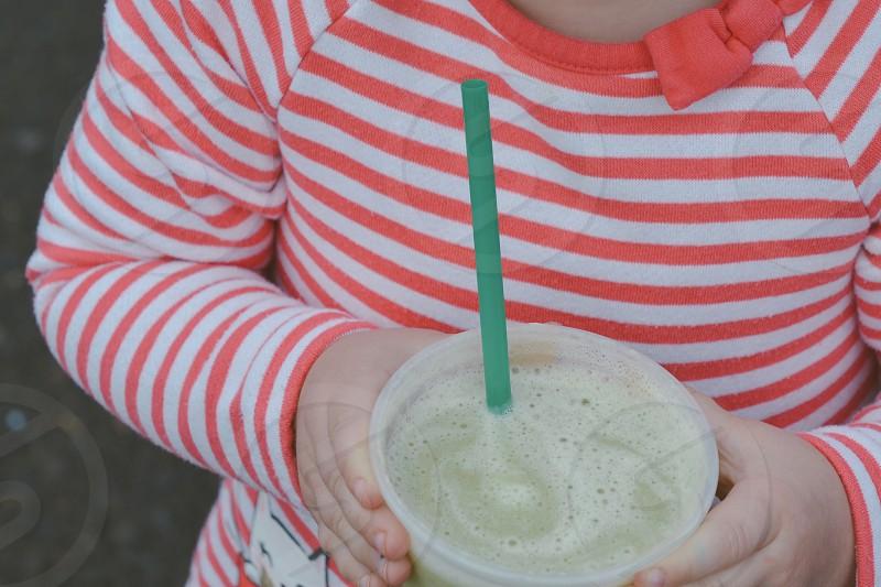 Smoothie spinach kale banana green straw stripes child photo