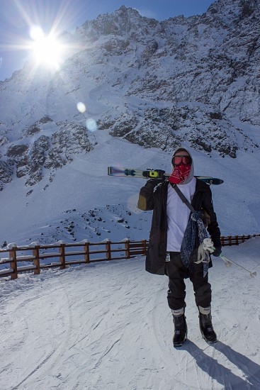Skiers and snowboarders in Portillo Santiago Chile.  photo