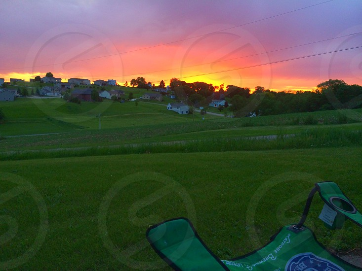 Sunset hills grass chair color photo