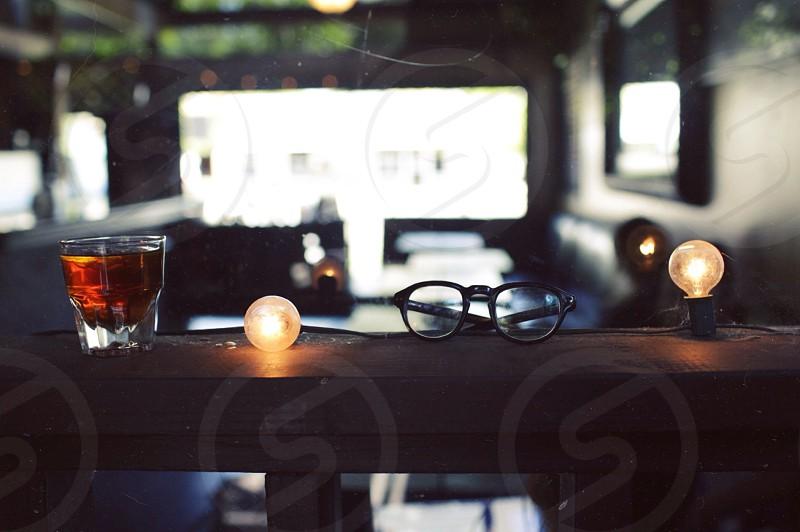 black framed eyeglasses photo