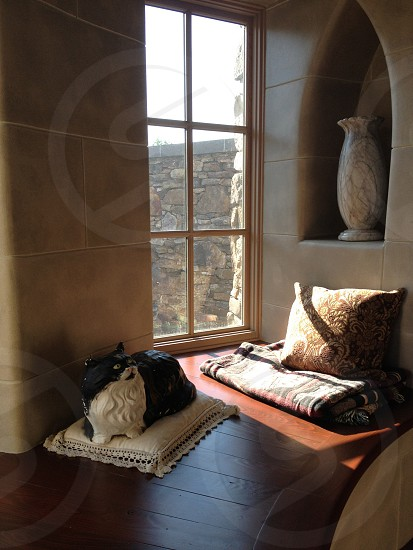 Circular stairwell seat with window photo