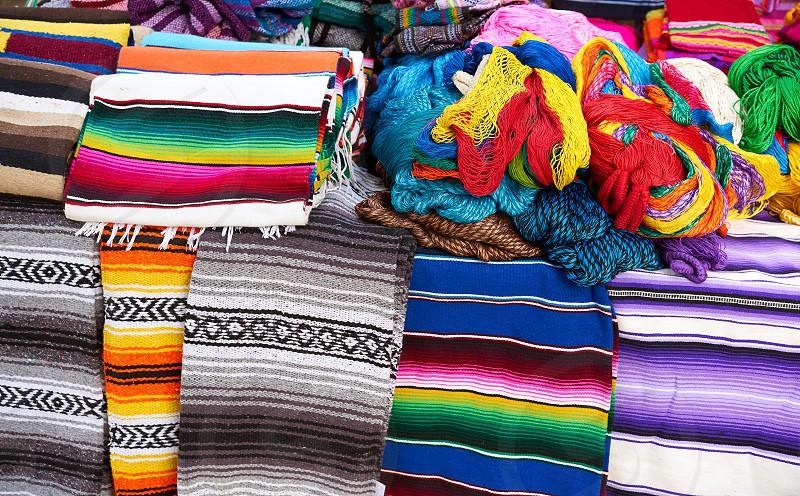 Chichen itza serape blanket in outdoor shop Mexico Yucatan photo
