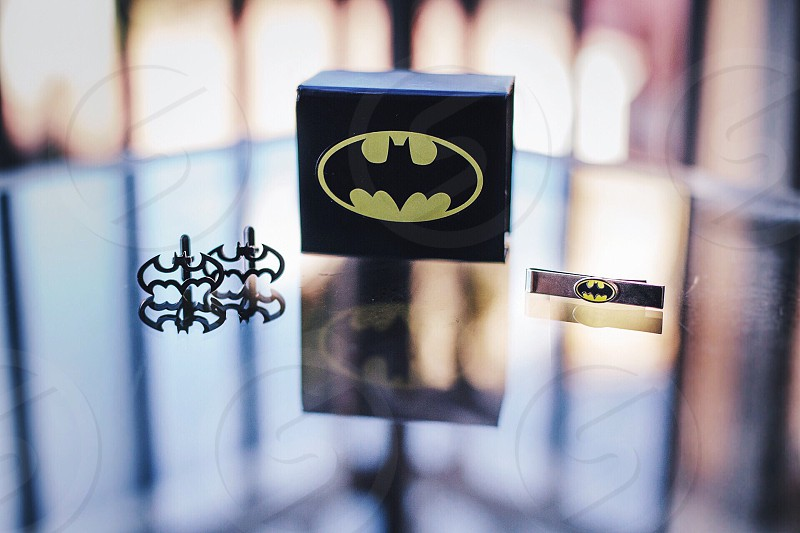 Batman cuff links tie clip gift box reflection mirror dark knight bokeh  photo