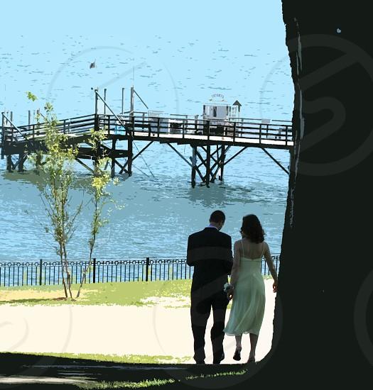 wedding couple coast maine walk ocean love photo