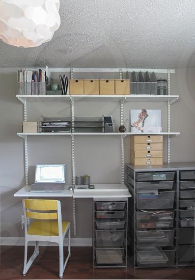 Elfa shelf home office.  photo