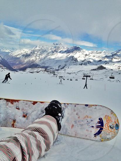 Zermatt snowboarding Matterhorn sunshine clouds  photo