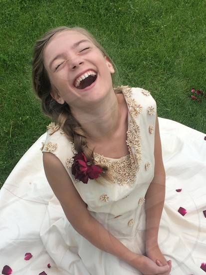 Little girl. Vintage dress. Laughing  photo
