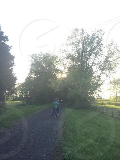 two women near trees photo