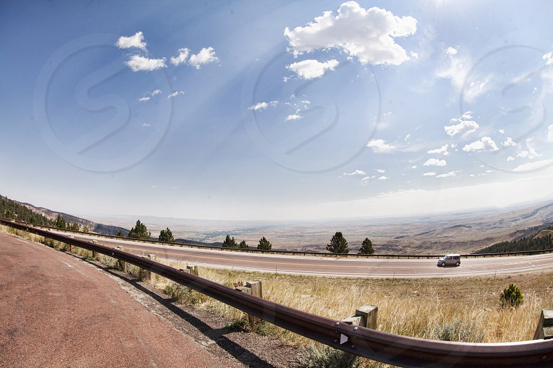 Driving up Bighorn Mountains in Wyoming photo