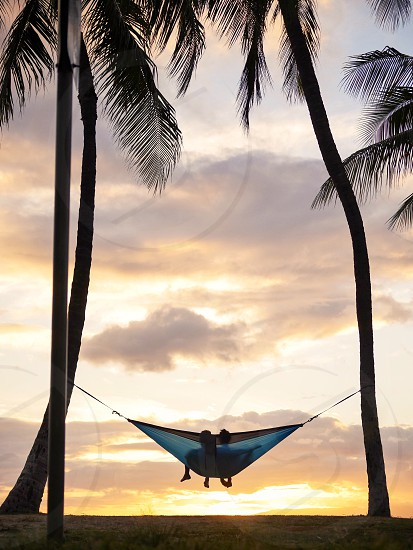 Couple in a hammock relaxing between two palm trees watching sunset on the beach park Hawaii honeymoon  photo