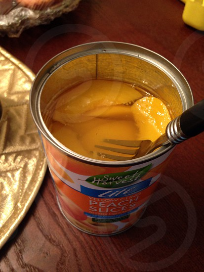 Yummy canned peaches photo
