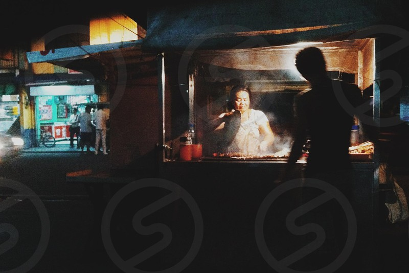 People street local Manila Philippines food barbecue waiting photo