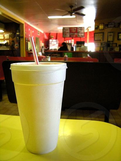 Styrofoam cup in restaurant photo