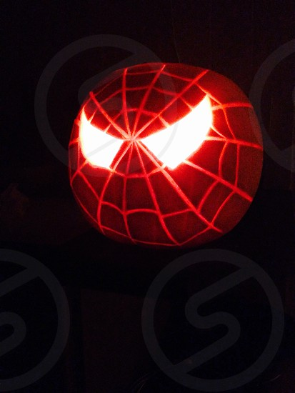 Carved Halloween pumpkin - Spidey photo