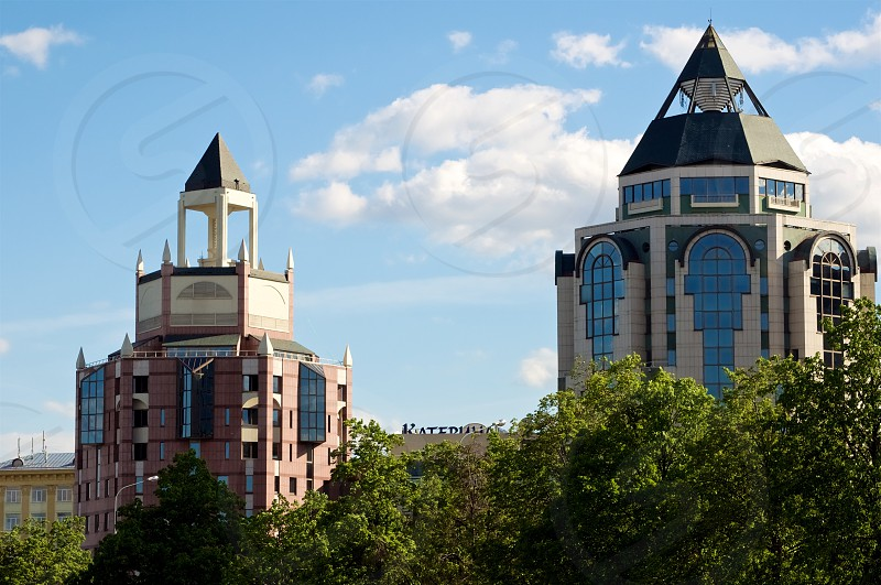 Modern Russian Russia Moscow Apartments Condos Condominiums blue red white green skyline architecture trees  photo