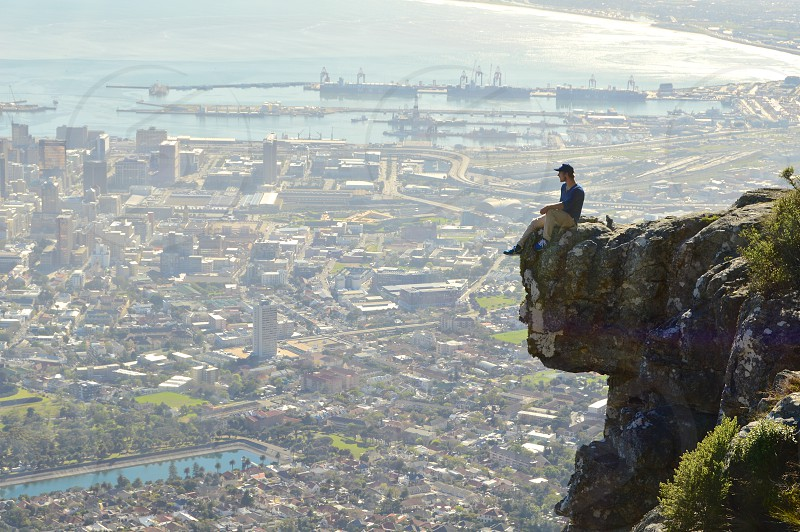 Looking out over Cape Town. Had previously broken his neck but used this as a way to overcome his fear. photo