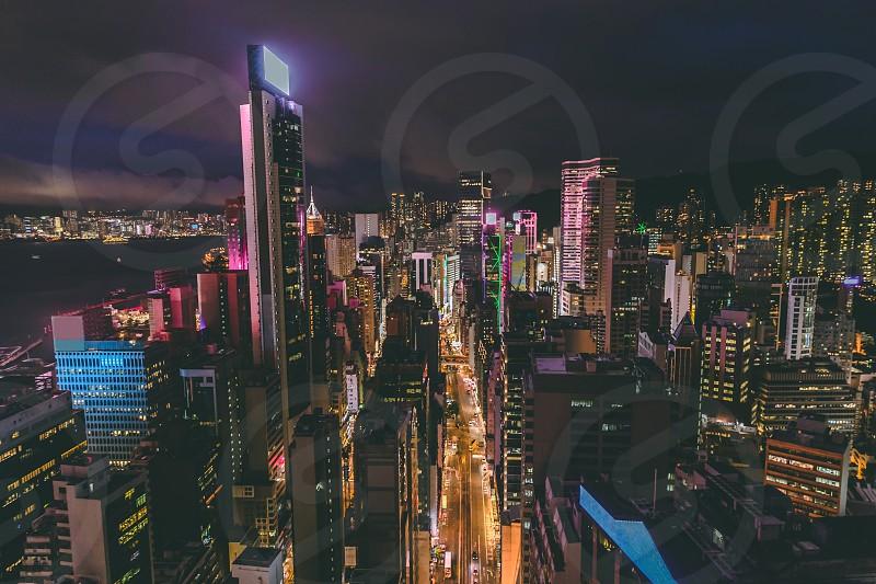 Aerial view of Hong Kong city skyline at night photo