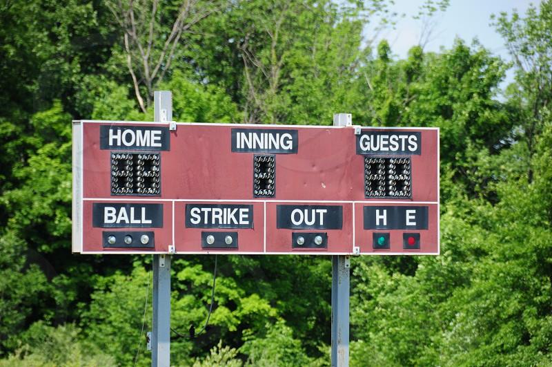 BaseballScoreboardOutsScoreFunSport photo