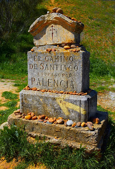 The way of saint James stone sign Palencia Spain photo