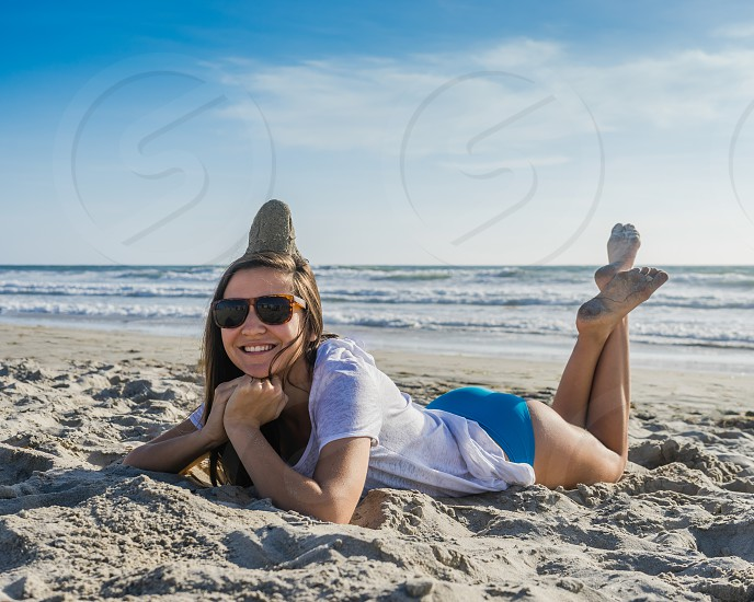Sand Hat! There's nothing like being goofy to stay young.  photo