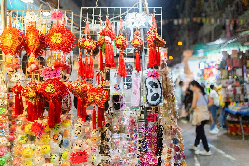 Hong Kong night market at Temple Street photo