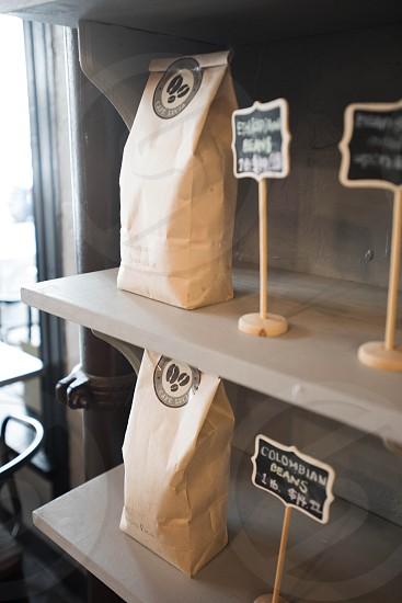 coffee beans bags cafe coffee bar photo