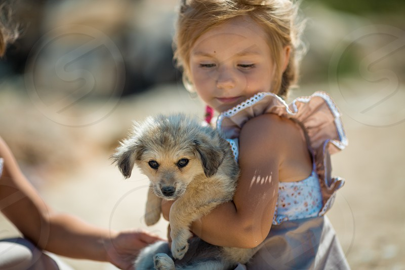Little girl with puppy outdoor portrait photo