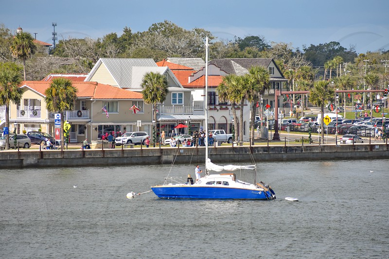 St. Augustine Florida. January 26  2019. Sailboat and dockside in Florida's Historic Coast. photo