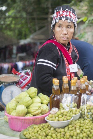 fruits at a market in the city of Chiang Rai in North Thailand. photo
