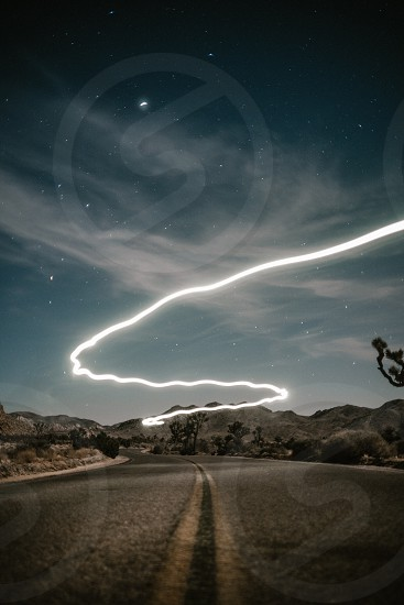 Landscape long exposure light trail nature night photo. photo