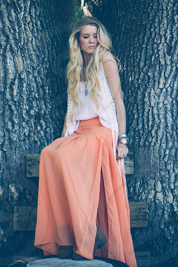 woman wearing an orange long skirt photo