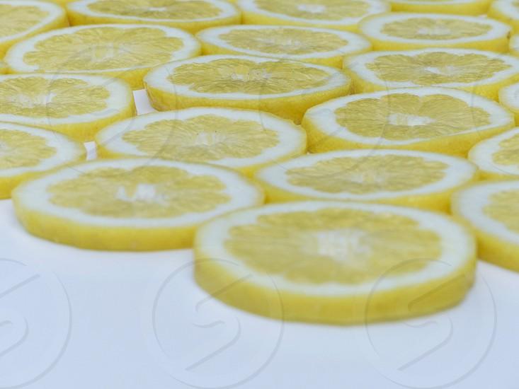Lemon slices with center focus in morning light photo