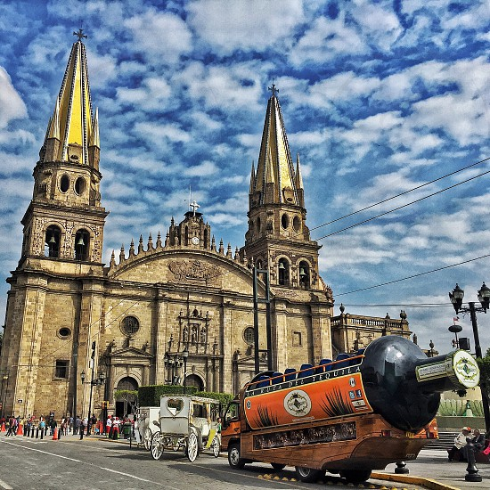 Guadalajara church catedral cathedral tequila big bottle cielo sky nubes clouds photo